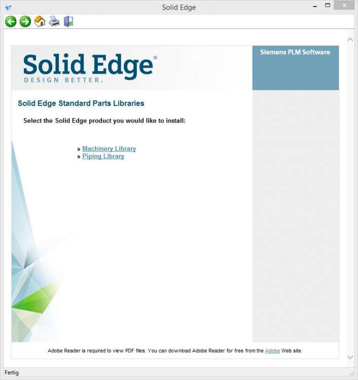 solid edge installation der standard parts libraries cad. Black Bedroom Furniture Sets. Home Design Ideas